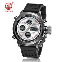 часы ohsen для дайвинга оптовых-relojes mujer 2016 OHSEN Бренд Dive LED Часы Мужчины Военные Спортивные Часы Кварцевые Силиконовые Часы мужчины Relogio Masculino