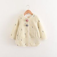 Wholesale Double Neck Left - Kids Winter coats Girls cashmere tree leaves embroidery warm outwears Kids pompons double pockets thickening coats Kids Clothes C1739