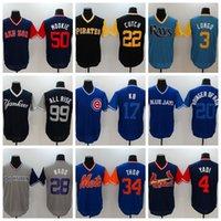 Wholesale Cubs Blue Jersey - Cubs #17 Baseball Player Jersey 2017 Players Nickname Jersey #4 YADI Baseball Shirts #22 CUTCH Men Baseball Uniform #34 THOR Men Jerseys
