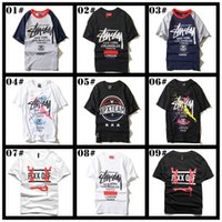 Wholesale Trendy Mens White Shirt - 2016 New Trendy Brand t Shirts For Men 100% Cotton Loose Hip Hop Graffiti Mens t Shirts Plus Size Crew Neck Tee Shirt