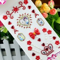 Mix Taille Love Cartoon Rhinestone Autocollants Autocollant Diy Autocollant Enfants anniversaire Jouets Notebook Kids Crystal Stickers
