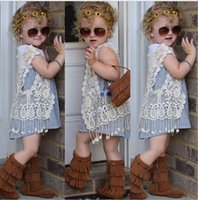 Wholesale Cotton Tops For Girls - 5pcs lot!children clothing 2016 summer girls crochet lace hollow tassel vest cardigan jacket outfits baby fringed tops for 1-5Y kids clothes