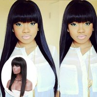 Wholesale Indian Virgin Remy Bangs - New 130 Density Straight Full Lace Human Hair Wigs Brazilian Human Hair Glueless Full Lace Wig with bangs