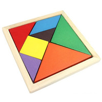 Wholesale Wood Brain Teaser Puzzles - Colorful 3D Wooden Tangram Brain Teaser Puzzle Toys Tetris Game Kids Preschool Intellectual Development Toy Wooden Jigsaw Board