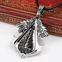 Wholesale assassins creed necklaces resale online - Personality Online Game Assassins Creed Necklace Alloy collier Jewelry Pendants Charm Necklace Chain Men s Accessories Gift