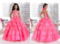 cupcake kid festzug kleid kurz groihandel-Rosa Mädchen Festzug Kleid Prinzessin Halfter Ausschnitt mit Bogen Party Cupcake Abendkleid für kurze Mädchen hübsches Kleid für kleines Kind