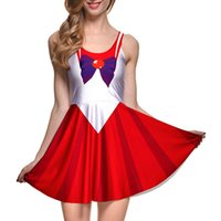Wholesale Plus Size Sailor - NEW 1055 Sexy Girl Women Summer Sailor Moon red Cartoon Cosplay 3D Prints Reversible Sleeveless Skater Pleated Dress Plus size