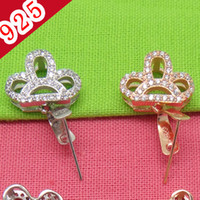 Großhandels-Min 5piece, 925 Sterling Silber Platin-Rose Gold Crown-förmige Bling Pinch Bail Haken-Schmucksache
