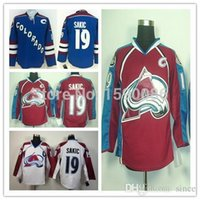 Wholesale China Factory Outlets - Factory Outlet, Cheap Colorado Avalanche #19 Joe Sakic Jersey Team Color Burgundy Red Blue White Joe Sakic Stitched Jerseys China C Patch
