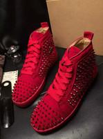 botas de estilo británico casual al por mayor-Alta calidad Moda remache de cuero genuino hombres botas zapatos de mujer estilo británico con cordones zapatos de lujo de los hombres zapatos casuales tamaño grande