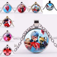 Wholesale cabochon resins - Miraculous Ladybug Necklace Crystal Glass Cabochon Necklace Pendants with Silver Bronze Chains Women Kids Cosplay Jewelry Drop Ship