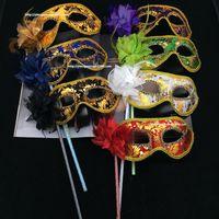 venedik maskeleri sopalarla toptan satış-Noel Düğün Venedik Yarım yüz çiçek tüy Maskesi El Yapımı Cadılar Bayramı Masquerade prenses Dans Parti Maskesi ile sopa