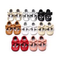 Wholesale toddler girl size 11 shoes - Bowtie Baby Girls Princess Prewalker Colors Soft Sole Moccasins Newborn Cartoon Kids First Walker Shoes Baby Toddler Shoes