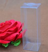 Wholesale Orange Wedding Favor Boxes - Joy 5*5*10cm transparent plastic PVC boxes Clear PVC Square Wedding Favor Gift Box Transparent Party Candy gift boxes