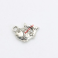 Wholesale Tiny Diy Accessories - 30pcs Antique Silver Plated Tiny Fish Charms Pendants Bracelet Necklace Jewelry Making Accessories DIY 13x13mm