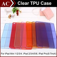 Wholesale Gel Case Ipad Mini - Crystal Clear Transparent Soft TPU Gel Back Case Cover For iPad Mini 1 2 3 4 Air 5 6 Pro Candy Color Shockproof Protective Shell Skin DHL