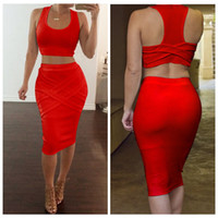 Wholesale Dress S M L - Hot Summer Women Sleeveless Two Pieces Set Dress Bodycon Dress Vestidos Sexy Bandage Crop Top Casual Party Club Dubai Dresses Set
