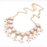 Wholesale Fresh Jewellery - Wholesale Fashion Ladies Fresh Opal Bib Choker Jewellery Necklace Pendant Statement Necklaces Elegant Brand Design Sweet Jewelry For Women