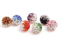 Wholesale Disco Ball Necklace Gradient - 50pcs 10mm Gradient Change Colorful Shamballa Beads Pave Clay Disco Ball Bracelet Necklace Bead Manualidades Cuentas y Abalorios