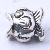 Pandora Fish beads DIY Jewelry Fit pulseras o collar de plata antiguo / bronce encantos 150pcs / lot 3178z