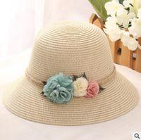 Wholesale Foldable Sunshade - Mother and my straw hat handmade crochet children stereo flowers beach sunshade caps summer womens foldable fisherman hat R0806