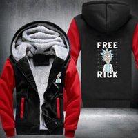 Wholesale Microfiber Logo - Wholesale New Rick and Morty Hoodie Logo Winter JiaRong Fleece Mens Sweatshirts Free Shipping USA Size fast ship