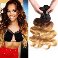 dunkle wurzeln blonde reine haare indisch großhandel-Ombre Body Wave Hair Weaves Malaysisches indisches peruanisches brasilianisches reines Haar bündelt bodywave Zwei Tone Dark Roots Blonde Ombre-Haar