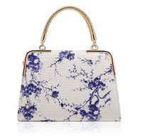 Wholesale ladies handbag mirrors resale online - Fashion female package new hot style Chinese wind blue and white porcelain stone grain printing mirror bag ladies handbags