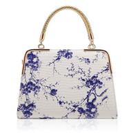 nuevos bolsos de moda de china al por mayor-Paquete de moda femenina 2016 nuevo estilo caliente viento chino azul y blanco de porcelana de grano de piedra impresión del bolso del espejo bolsos de las señoras