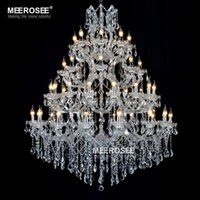 Wholesale Maria Crystal Chandelier - Large Maria Theresa Chandelier 49 Lights Luxurious Clear Crystal Hanging drop lamp de cristal lamparas for Hotel Project Foyer