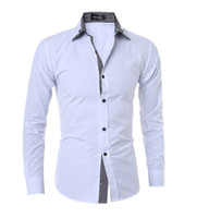 Wholesale Decorated Collar Shirt - Brand men's shirts 2016 New Features double collar casual men's striped long-sleeved shirt decorated Men's dress shirts