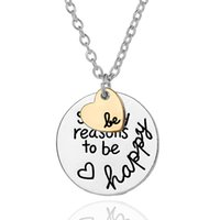 Wholesale Necklace For Teen - Fashion Jewelry Hand Stamped BE SO MANY REASON TO BE HAPPY 2 Part Heart Pendant Necklace Women Inspirational Necklace for Women Teen Girls 6