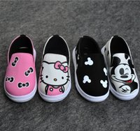 Wholesale Baby Dresses Shoes - Girls Boys Cartoon Sneaker Shoes Korean Kids Kitty Mickey Mouse Shoes Children Casual School Shoes Infant Toddler Baby Dress Shoes
