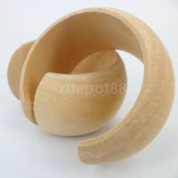 Vente en gros - Large Infinished Nnarrow bois naturel en bois rond Bracelet ouvert Bangle DIY