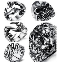 Wholesale Silicone Animal Bands - Wholesale Price New Exaggerated Personalized Party Fashion Jewelry Stainless Steel The Lion Head Male Rings for Cool Men 170816