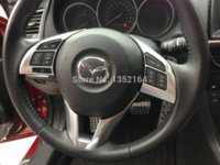Wholesale Mazda Wheel Trims - Auto steering wheel cover,steer wheel decoration trim for Mazda 6 atenza 2014 2015, ABS chrome,auto accessories,2pcs set.