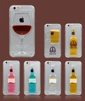 Wholesale Plastic Cocktail Glasses Wholesale - Liquid Quicksand Case for iPhone 5s 6s plus Red Wine Cocktail Glass Beer bottle design for samsung s6 edge Transparent Back Cover