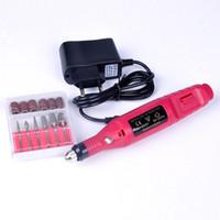 Wholesale Nail Drill Plug - Nail Salon Mini Electric Nail Polishing Drill Manicure care tool Ladies Nail Art File 110V  220V EU Plug