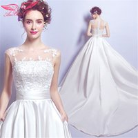 Wholesale Thick Satin Wedding Gowns - AnXin SH luxurious lace wedding dresss word shoulder princess wedding dress bride thick satin big tail wedding dress new 2097