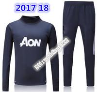 Wholesale Coolmax Shirt - TOP QUALITY 17 18 LUKAKU POGBA United jacket Training suit kits soccer Jersey Ibrahimovic MARTIAL LUKAKU MKHITARYAN RASHFORD football shirt