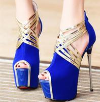 Wholesale sandal 17cm - 17cm hollow metal color suede high-heeled club with a fine fish mouth sandals SZ 35 ~ 39