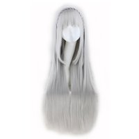 Wholesale D Bang - WoodFestival long grey straight wigs with bangs Life in a different world from zero emilia cosplay anime wig have braid fiber hair wigs