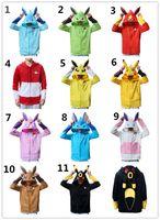 Wholesale Wholesale Hoodie Outfits - New 11styles POKE mon zipper Hoodie cartoon fleece Jacket Pocket Monster cosplay coat Sylveon Eevee Flareon Umbreon Phyllali 3d ears outfits