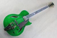Wholesale Tiger Veneer - ALL NEW Jazz empty heart large rocker electric guitar fretboard flower transparent green tiger veneer