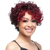 Wholesale Multi Color Short Wigs - Xiu Zhi Mei 2017 Hot sale ! Short Wig curly Free shipping New Stylish kinky Curly Multi -Color Wigs for black women Wholesale