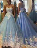 Wholesale Simple Dresses For Pageants - 2017 New White Lace Appliques Quinceanera Dresses Sweetheart Backless Lace-Up Tullr Pageant Prom Dresses Evening Wear For sweet 16 Cheap