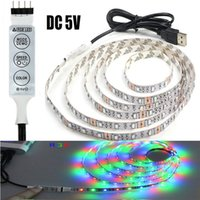 Wholesale Smd 3528 Led Strip Multicolor - LED Christmas Lights 3528 SMD Strip 5V USB RGB Multicolor Changeable 60LEDs Per Meter Lights Strip with 3 Keys RGB LED Controller