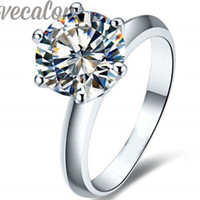 Wholesale 2ct Diamond Band - Vecalon 2016 fashion New wedding ring for women 2ct Simulated diamond Cz 925 Sterling Silver Female Engagement Band Finger ring