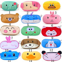Wholesale School Bags For Kids Wholesale - New Cute Cartoon Kawaii Pencil Case Plush Large Pencil Bag for Kids School Supplies Material Korean Stationery