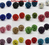 Wholesale Silver Color Beads Spacer - 100pcs lot lowest price 10mm mixed multi color ball Crystal Shamballa Bead Bracelet Necklace Beads.Hot new beads Lot!Rhinestone DIY spacer